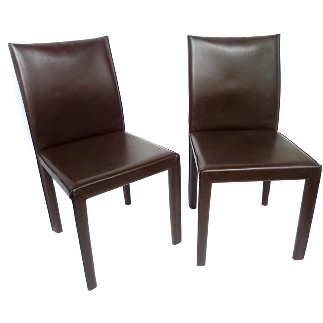 Bellini-Style Leather Side Chairs - A Pair - Image 1 of 9