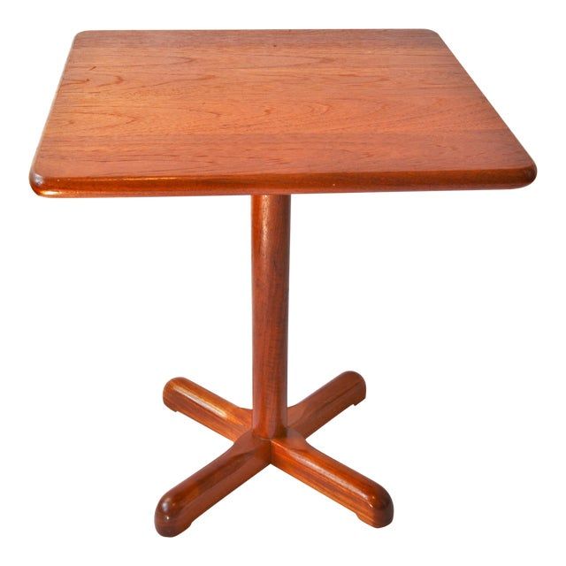 1970s Mid-Century Modern Teak Pedestal Side Table For Sale