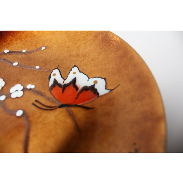 Copper Mid-Century 'Butterfly' Enamel on Copper Dish by Bovano For Sale - Image 8 of 12
