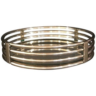 Art Deco Style Polished Chrome Round Gallery Tray or Plateau For Sale