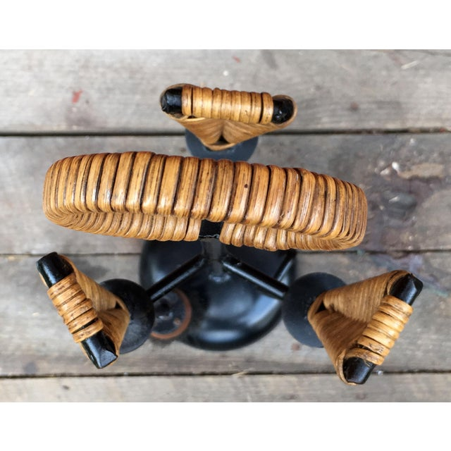 1950s Mid Century Modern Scandinavian Wrought Iron & Wicker Fireplace Tools - 4 Pieces For Sale - Image 9 of 10
