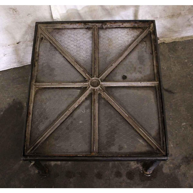 Cast Iron Frame Chicken Wire Glass Window Table - Image 5 of 5