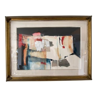 Vintage Harold Larson Painting Abstract Mixed Media Collage For Sale
