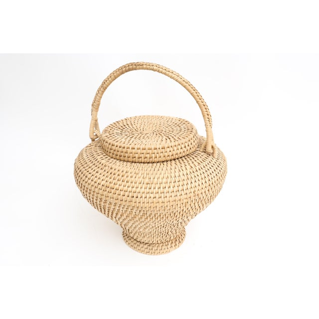 Large Vintage Hand-Woven Herb Basket with Handle - Image 6 of 6