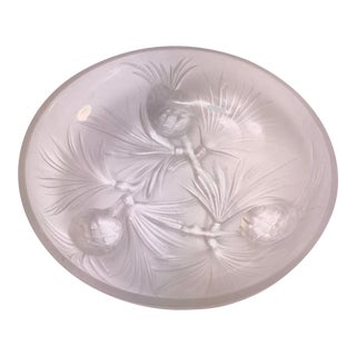 1940s French Art Deco Frosted Glass Verlys Signed Pinecone Footed Bowl For Sale
