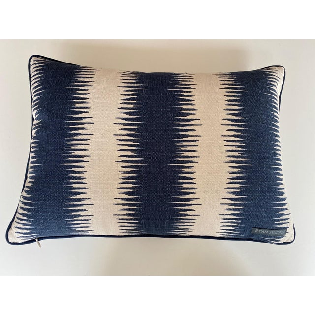 Traditional Blue and White Woven Striped Pillows - a Pair For Sale - Image 3 of 7