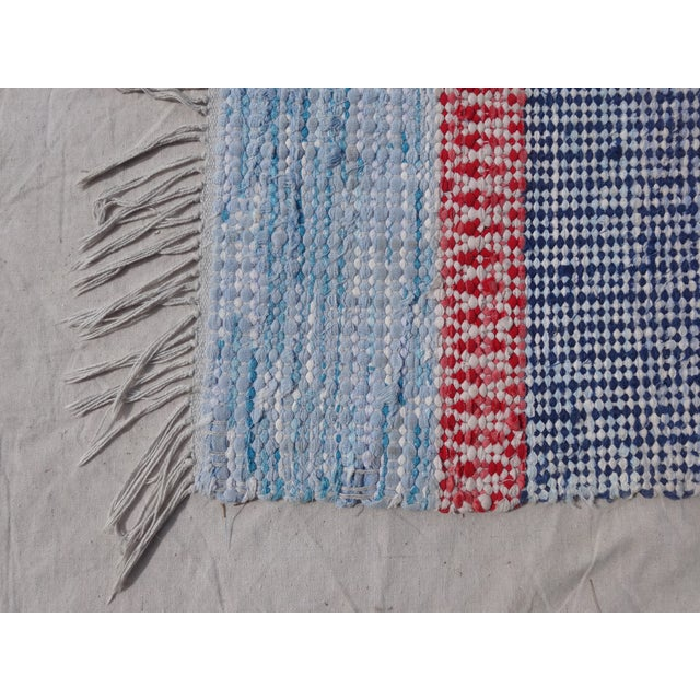 "Boho Chic Swedish Vintage Handwoven Rag Rug -- 3'3"" X 7'10"" For Sale - Image 3 of 3"