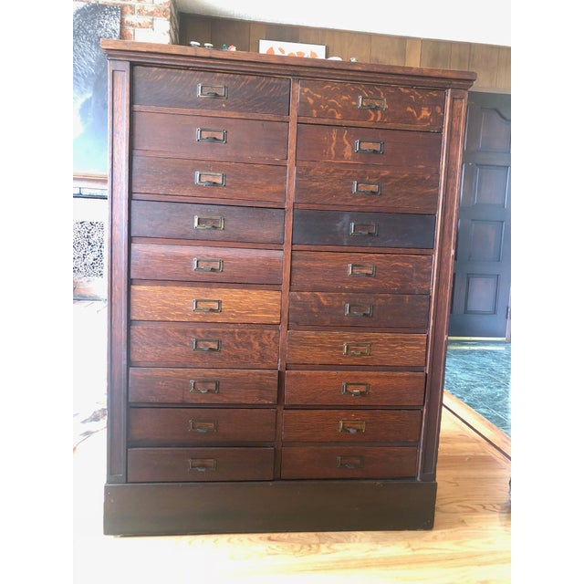 This is a rare Mission Style/Arts & Crafts Style piece of San Francisco History. A quarter sawn oak filing cabinet that...