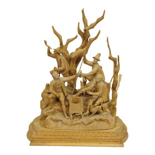 Elaborate Carved Tyrolian Group Of Poachers In The Forest Ca. 1880 For Sale