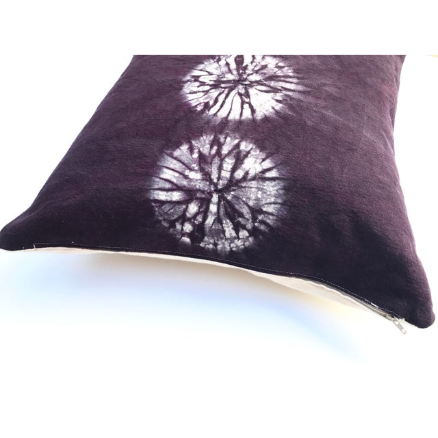 Javanese Aubergine Nui Shibori Circle Pillow Cover For Sale - Image 3 of 6