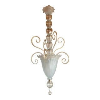 Tall Clear & Gold Mid Century Modern Vintage Murano Glass Lantern Italy 1960s For Sale