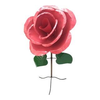 Monumental 5' x 3' Metal Rose Sculpture For Sale