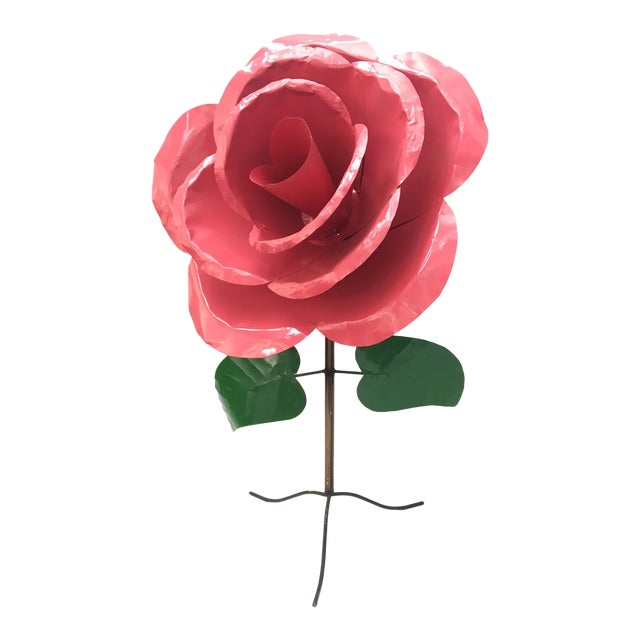 Monumental 5' x 3' Metal Rose Sculpture - Image 1 of 6
