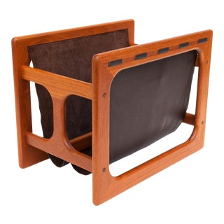 Danish Modern Salin Møbler Teak and Leather Magazine Rack For Sale