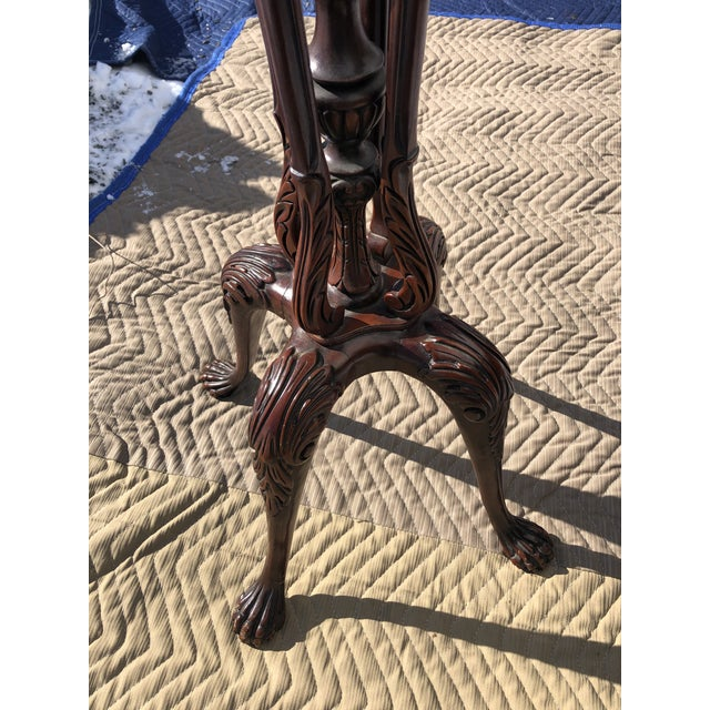 Wood Classic Georgian Style Carved Mahogany Torchiere Plant Stand For Sale - Image 7 of 11