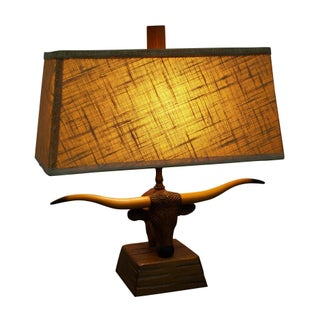 Brandt Ranch Oak Carved Texas Longhorn Table Lamp