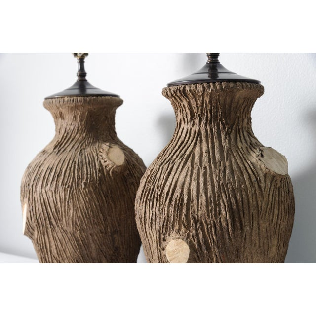 Vintage Faux Bois Pottery Lamps - A Pair For Sale - Image 4 of 8