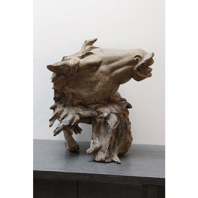 Hand Carved Bust of Horse Head in Wood - Image 2 of 11