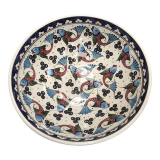 16th Century Design Hand Painted Ceramic Fish Motif Bowl For Sale