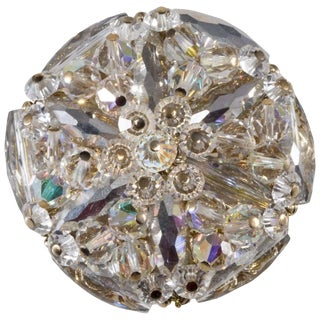 Vendome Prototype Brooch Clear Crystal Faceted Beads Unmarked Vintage 1960s For Sale