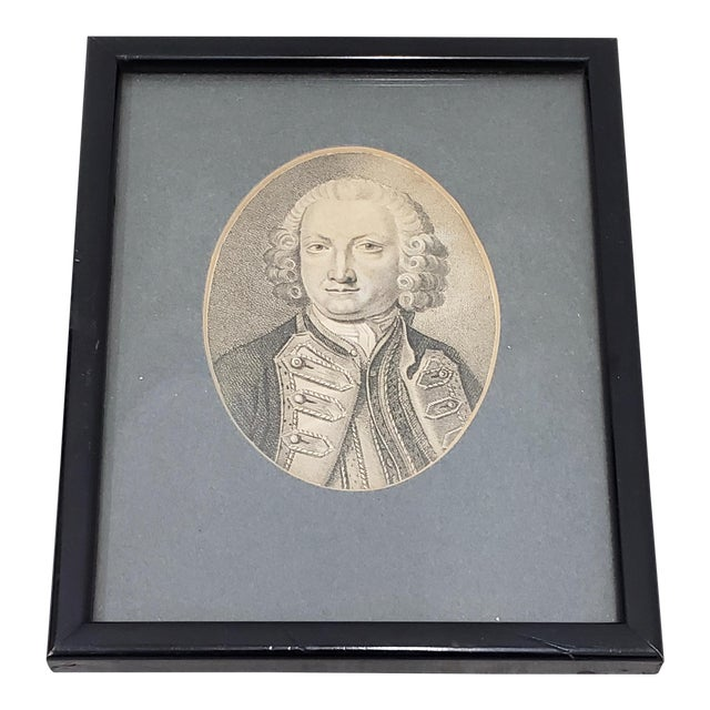 Lord Anson First Lord of the Admiralty Miniature Portrait Engraving 18th to 19th C. For Sale