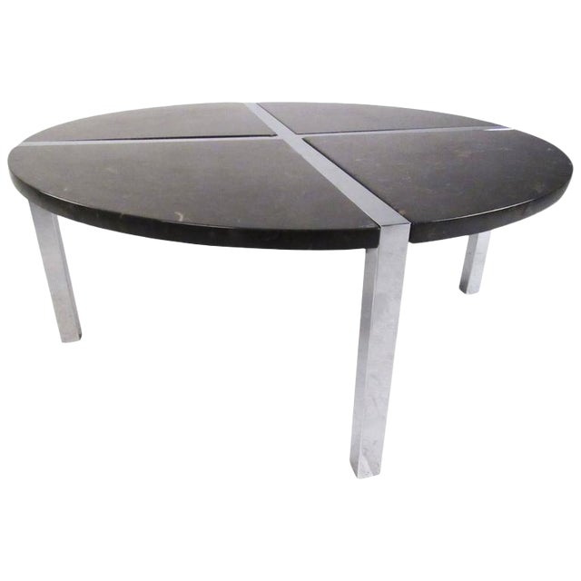 Contemporary Modern Chrome And Marble Circular Coffee Table Chairish
