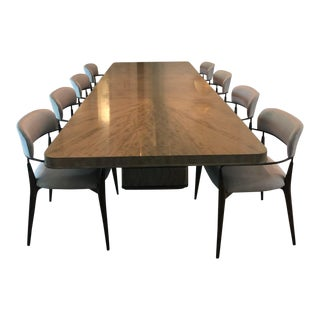 Mid-Century Modern Henredon Belvedere Dining Table and Madison Arm Chairs Set - 9 Pieces For Sale