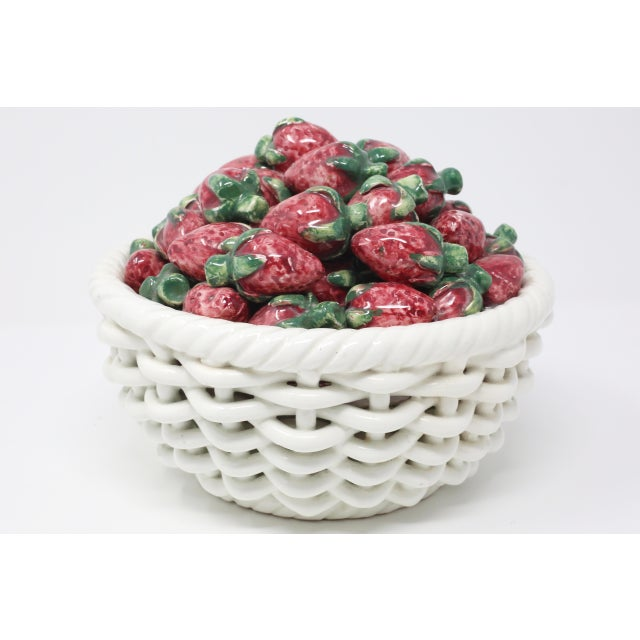 Red Vintage Ceramic Woven Basket and Figural Strawberries For Sale - Image 8 of 8