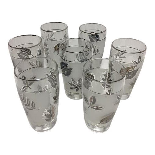 Mid-Century Libbey Silver Leaf & Wheat Glasses - Set of 7 For Sale