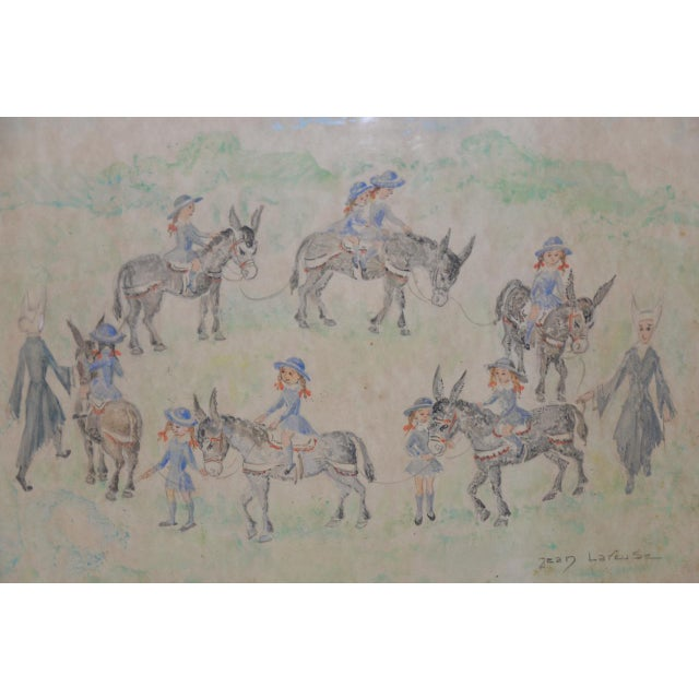 "Paint Jean Lareuse ""School Girls on a Donkey Ride"" Original Watercolor C.1950 For Sale - Image 7 of 10"
