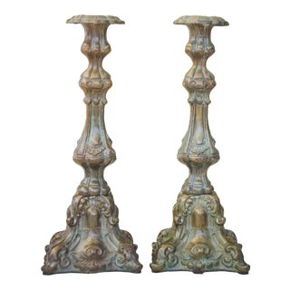 1950s Victorian Bronze Candlesticks - a Pair For Sale