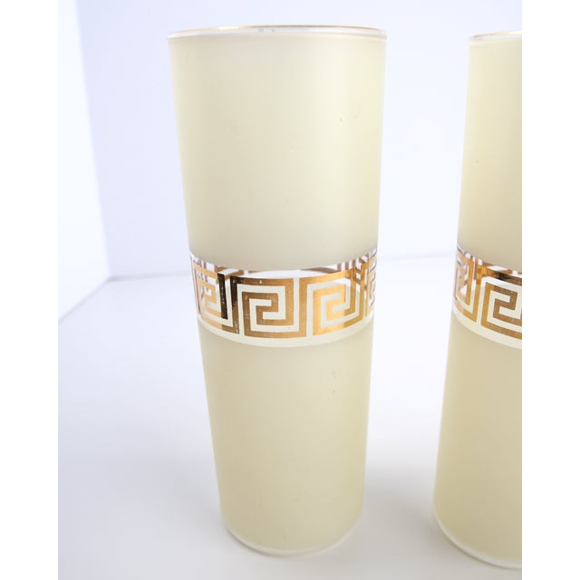 Frosted Federal Glass Tumblers With Greek Design - Image 3 of 5