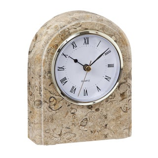 Tan Marble Desk Clock