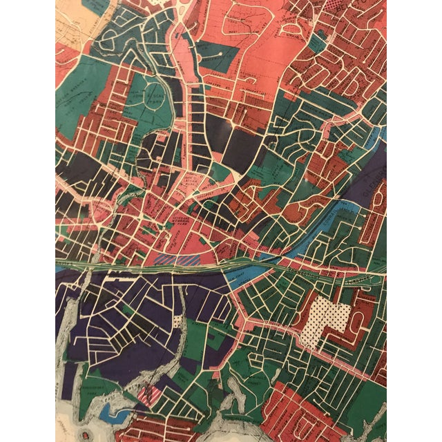 Red Vintage Stamford Connecticut Framed Zoning Map For Sale - Image 8 of 8