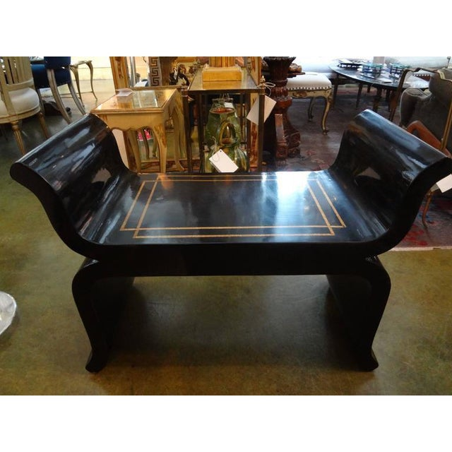 Lacquer 1960's Vintage James Mont Style Hollywood Regency Black Lacquered Benches- A Pair For Sale - Image 7 of 10
