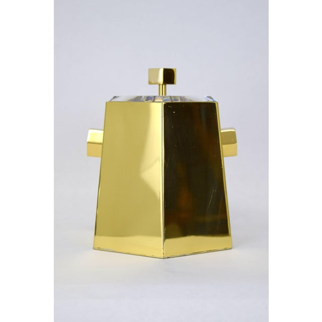 Mid-Century Modern Brass and Lucite Hexagonal Ice Bucket by Charles Hollis Jones For Sale - Image 3 of 10