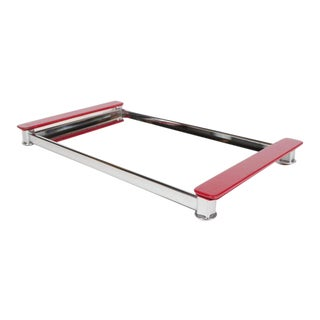 Art Deco Mirrored Bar Tray with Red Lacquered Handles For Sale