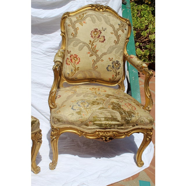 Giltwood Pr. Of Signed Maison Jansen Arm Chairs Late 19c. Louis XV Style For Sale - Image 7 of 12