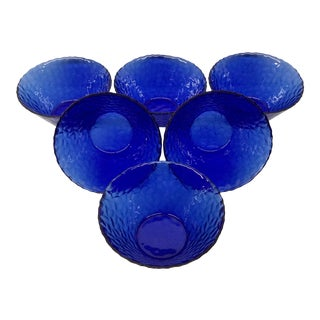 1960s Vintage Cobalt Blue Bowls - Set of 6 For Sale