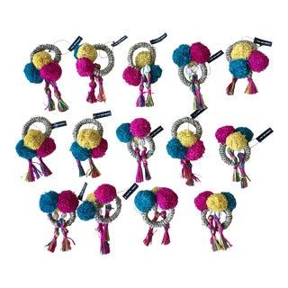 Kim Seybert Colorful Fiesta Napkin Rings - Set of 14 For Sale
