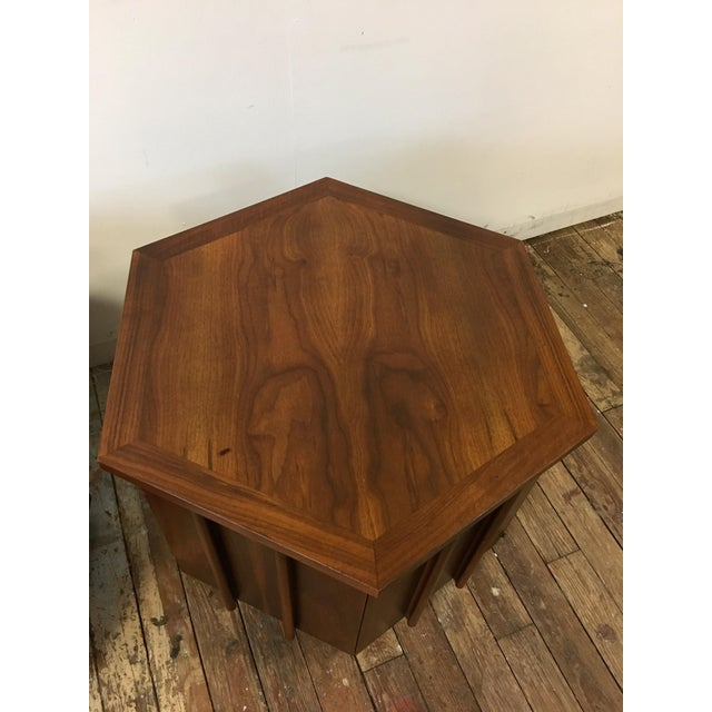 Mid-Century Lane Hexagon Walnut Side Tables - a Pair For Sale - Image 5 of 10