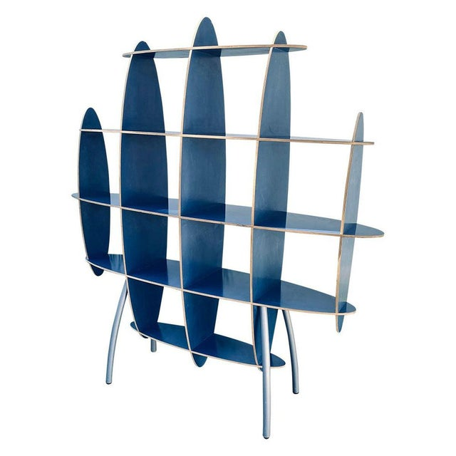 Contemporary Italian Contemporary Modern Blue Standing Rack/Shelf For Sale - Image 3 of 6