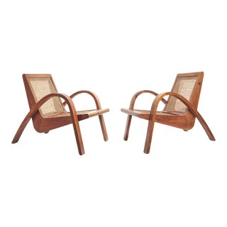 Rare Pair of Cane Seated Teak Armchairs Attributed to Pierre Jeanneret For Sale