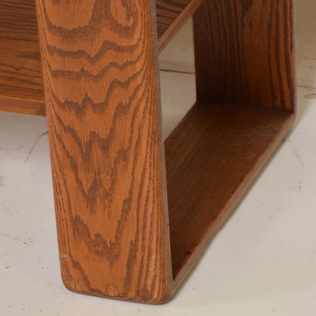 Mid Century Modern Solid Oak Wood Wall Unit by Lou Hodges For Sale - Image 10 of 11
