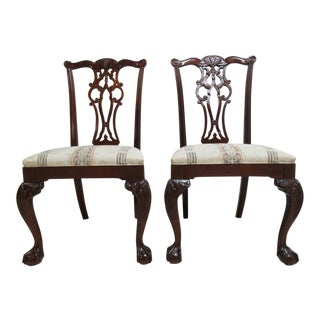 Modern Ethan Allen 18th Century Style Mahogany Chippendale Dining Room Side Chairs- A Pair For Sale
