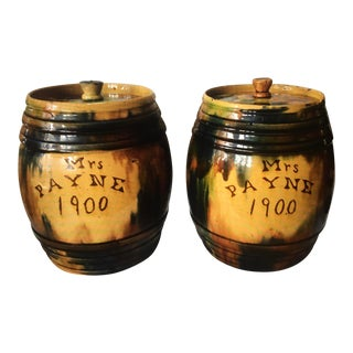1900 English Pottery Jars - a Pair For Sale