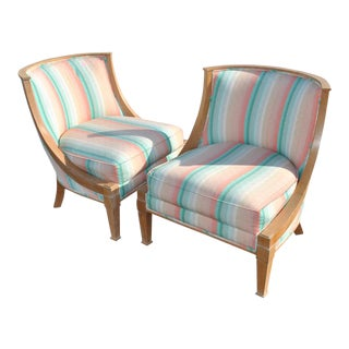 Modern French Barrel Style Chairs - A Pair