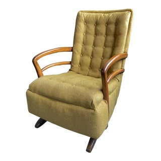 Mid-Century Retro Vintage Tufted Green Yellow Platform Rocker