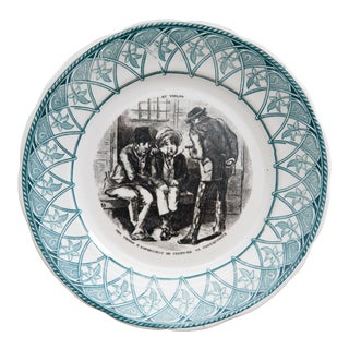 Antique French Sarregueimines Plate For Sale