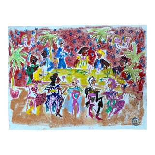 """Happy Menocal """"At a Dinner Party"""" Original Gouache and Pastel Work on Paper, Contemporary Illustration"""